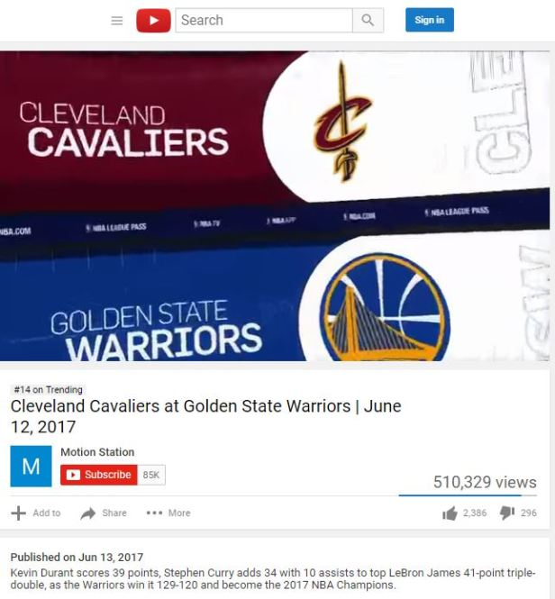 6 13 17 #14 Golden State Champs. YouTube Trend