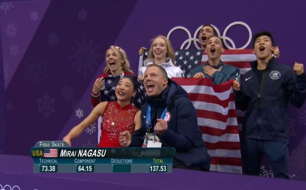2 14 2018 Mirai Nagasu and Family Score Reaction1
