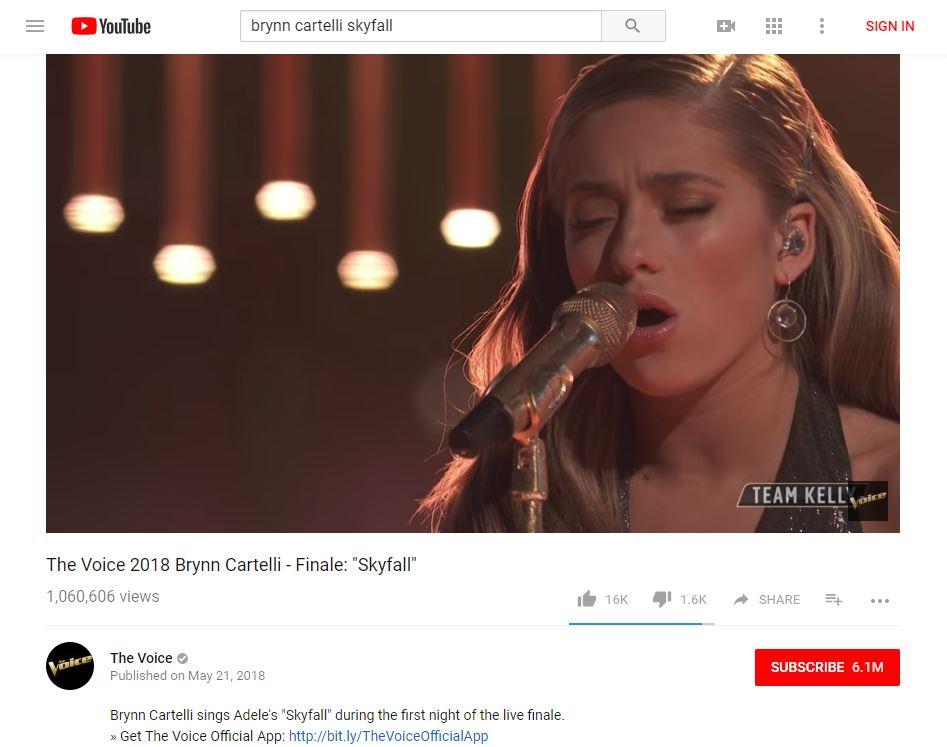 Brynn Cartelli's 'Skyfall' cover reaches 1M YouTube views